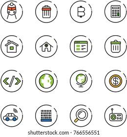 line vector icon set - train vector, trash bin, bitcoin, calculator, home, website, tag code, globe, dollar, car wireless, binary, magnifier, radio