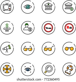 line vector icon set - tv vector, eye, bank, account, no cart horse road sign, truck overtake, telescope, sunglasses, parasol, scanner, magnifier, teethers