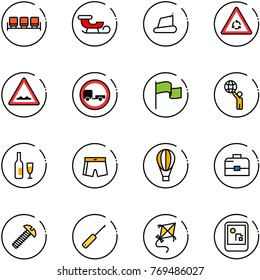 line vector icon set - waiting area vector, sleigh, treadmill, round motion road sign, rough, no trailer, flag, world, wine, swimsuit, air balloon, case, screw, awl, kite, game console