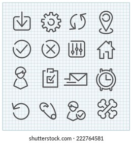 Line vector icon set for web design and user interface