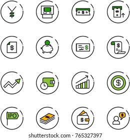 line vector icon set - yen vector, atm, cash, account statement, piggy bank, check, history, growth arrow, wallet time, dollar, ipo, finance management, money dialog