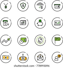 line vector icon set - yen vector, safe, insurance, receipt, atm, statistics report, piggy bank, account, growth arrow, wallet time, dollar, ipo, money, mail, dialog