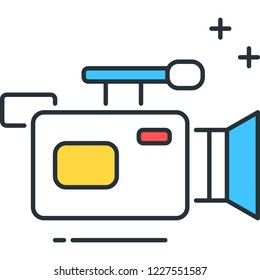 Line vector icon of video recorder camcorder illustration
