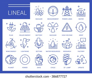 Line vector icons in a modern style. Heavy industry, power generation, water resources, pollution and environmentally friendly energy sources.