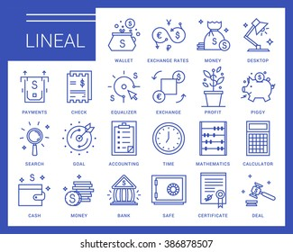Line vector icons in a modern style. Business and finance, exchange rates, financial services, banking environment and business space.