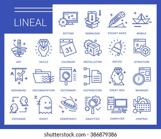Line vector icons in a modern style. Software and System Preferences, Inserting and editing system files.