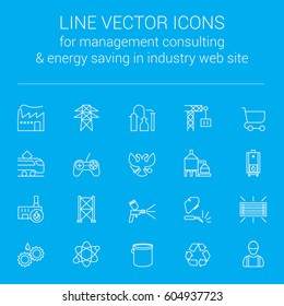Line vector icons for quick response manufacturing management consulting and energy saving in industry web site