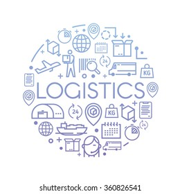 Line vector illustration on the theme of Logistics, Warehouse, Freight, Cargo Transportation. Storage of goods, Insurance. Modern flat design.
