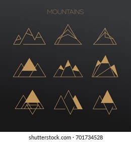 Line vector logo set of mountains. Nature travel logo.