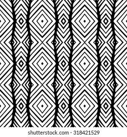 Line vector seamless pattern. Repeating geometric tiles. Modern stylish texture. Monochrome arabic, aztec design. Hand drawn tribe motif.