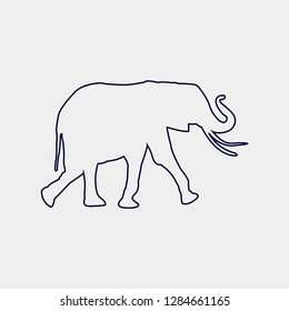 line Vector silhouette of a elephan on a white background.