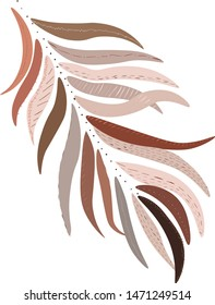 line vector stye palm leaf with dots and textures