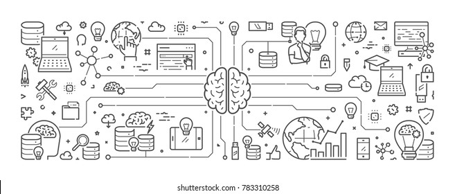Line web banner for artificial intelligence. Modern linear concept for computer brain.