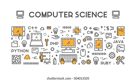 Line web concept for computer science. Vector banner for education. Open path.