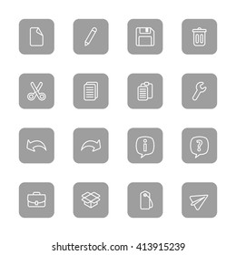 line web icon set on gray rounded rectangle for web design, user interface (UI), infographic and mobile application (apps)