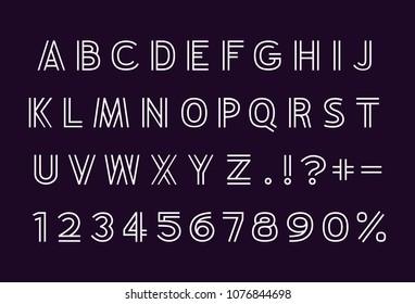 Line white font on background back. Vector illustration