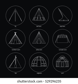 Line white icons of tents on black background. Traditional types of tent: bell tent,fly, nomadic tent, sibley tent, tarp tent, tipi, wigwam, yurt, northern sami.