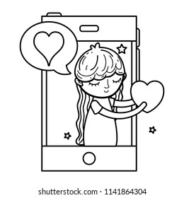 line woman with smartphone and lovestruck social message
