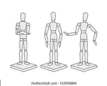 Line Wooden Mannequin
