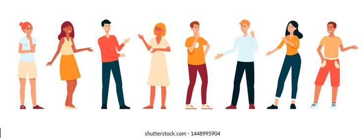 Line of young people standing and talking, flat cartoon character set isolated on white background, hand drawn men and women having a discussion, vector illustration