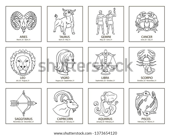 Line Zodiac Signs Symbols Icon Set Stock Vector (Royalty Free