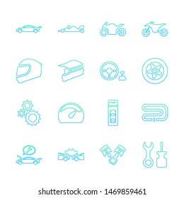 Lineal gradient design icon set of racing video game and esport concept.