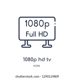 Linear 1080p hd tv icon from Cinema outline collection. Thin line 1080p hd tv vector isolated on white background. 1080p hd tv trendy illustration