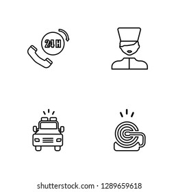 Linear 24h, Ambulance, Medical support, Fire alarm Vector Illustration Of 4 outline Icons. Editable Pack Of 24h, Ambulance, Medical support, Fire alarm