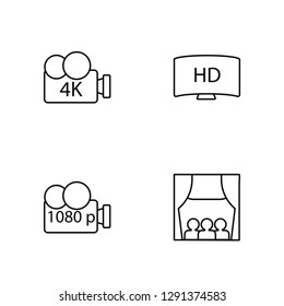 Linear 4K FullHD, 1080p Full HD, HD, People Watching a Movie Vector Illustration Of 4 outline Icons. Editable Pack Of 4K FullHD, 1080p Full HD, HD, People Watching a Movie
