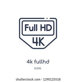 Linear 4k fullhd icon from Cinema outline collection. Thin line 4k fullhd vector isolated on white background. 4k fullhd trendy illustration