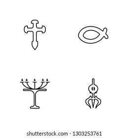Linear Aaronic Order Church, Judaism, Christianity, Shiva Vector Illustration Of 4 outline Icons. Editable Pack Of Aaronic Order Church, Judaism, Christianity, Shiva
