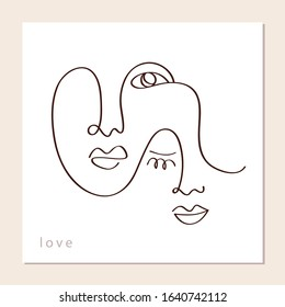 Linear abstract couple faces. Man and woman romantic modern poster. Continuous one line drawing. Minimalistic style valentines graphic design. Fashion decor, t shirt print