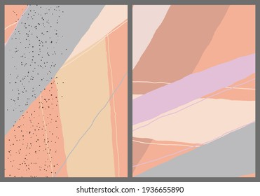 Linear abstract drawing on flat background. Contemporary composition. Modern art, print or poster. Natural color textured with spots and lines. Matte colors.