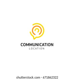 Linear abstract logo from arcs and semicircles, dialog box and the thought process of the interlocutor. Forum, information support. Vector logo.