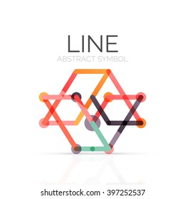 Linear abstract logo, connected multicolored segments of lines geometrical figure. Vector wire business icon isolated on white