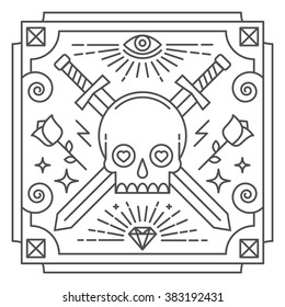 Linear abstract vector illustration with skull and crossed swords
