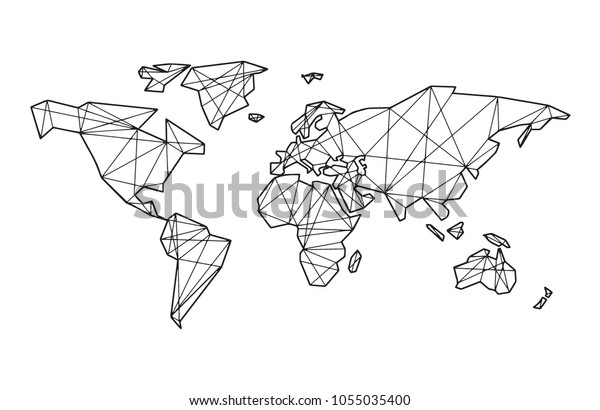 Linear abstract world map - abstract with connections.