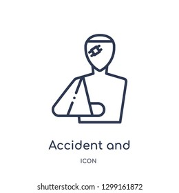 Linear accident and injuries icon from Law and justice outline collection. Thin line accident and injuries icon isolated on white background. accident and injuries trendy illustration