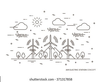Linear air electric station (wind energy park, wind power station) vector illustration. Air energy (wind-energetic) creative concept. Wind turbine, wind-driven powerplant graphic design.