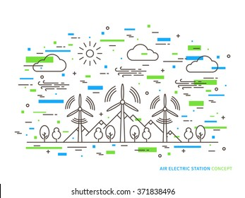 Linear air electric station (wind energy park, wind power station) vector illustration. Air energy (wind-energetic) creative concept. Air electricity (wind turbine, wind motor, graphic design.