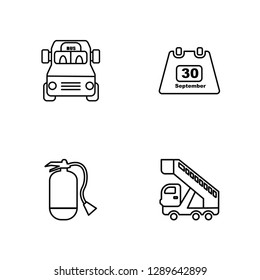 Linear Airport Bus, Extinguisher, Calendar day Thirty, Gangway Truck Vector Illustration Of 4 outline Icons. Editable Pack Of Airport Bus, Extinguisher, Calendar day Thirty, Gangway Truck