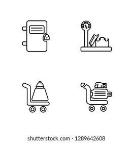 Linear Airpot Cupboard, Trolley with Food, Baggage Scale, Luggage Trolley Vector Illustration Of 4 outline Icons. Editable Pack Of Airpot Cupboard, Trolley with Food, Baggage Scale, Luggage Trolley
