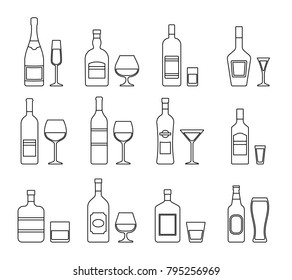 Linear alcohol bottles and glasses. Outline icons beverages isolated on white background. Vector graphics. Set black alcoholic drinks with wineglasses in flat design. Thin line illustration.