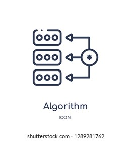 Linear algorithm icon from Artifical intelligence outline collection. Thin line algorithm vector isolated on white background. algorithm trendy illustration