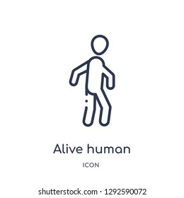 Linear alive human icon from Feelings outline collection. Thin line alive human icon vector isolated on white background. alive human trendy illustration