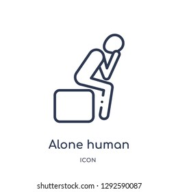 Linear alone human icon from Feelings outline collection. Thin line alone human icon vector isolated on white background. alone human trendy illustration