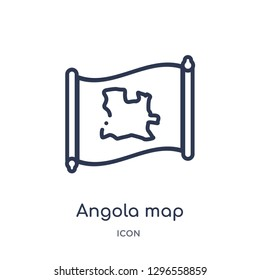 Linear angola map icon from Countrymaps outline collection. Thin line angola map icon vector isolated on white background. angola map trendy illustration