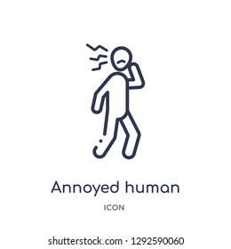 Linear annoyed human icon from Feelings outline collection. Thin line annoyed human icon vector isolated on white background. annoyed human trendy illustration