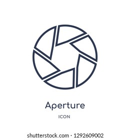 Linear aperture icon from Electronic stuff fill outline collection. Thin line aperture icon vector isolated on white background. aperture trendy illustration