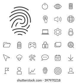 Linear app icons set. Universal app icon to use in web and mobile UI, app basic UI elements set